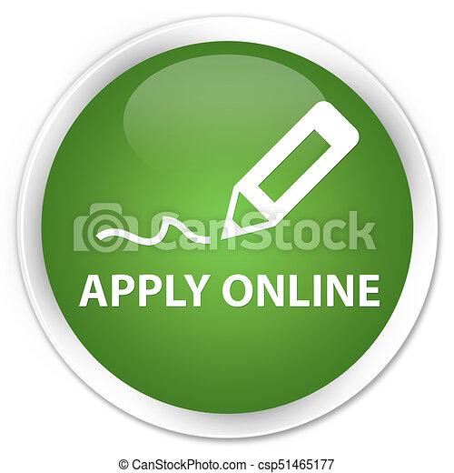 Apply online (edit pen icon) premium soft green round button - csp51465177