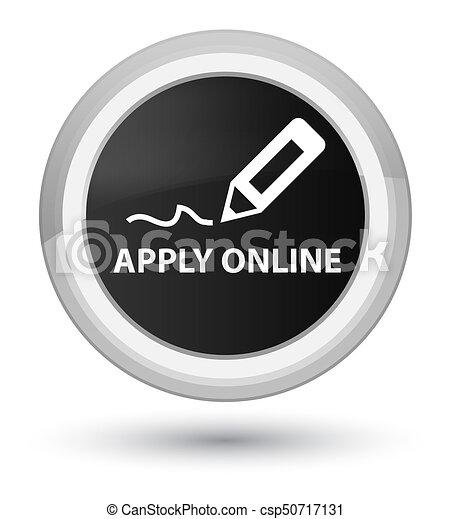 Apply online (edit pen icon) prime black round button - csp50717131