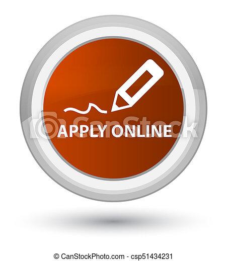 Apply online (edit pen icon) prime brown round button - csp51434231