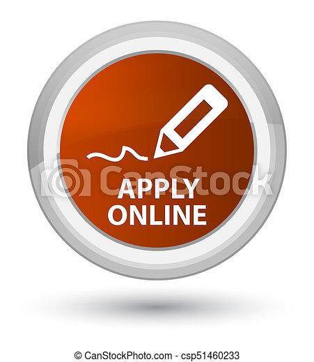 Apply online (edit pen icon) prime brown round button - csp51460233