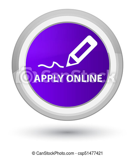 Apply online (edit pen icon) prime purple round button - csp51477421