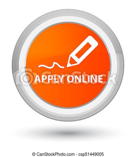 Apply online (edit pen icon) prime orange round button - csp51449005