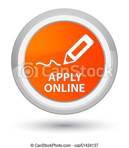Apply online (edit pen icon) prime orange round button - csp51434137