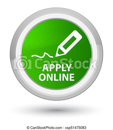 Apply online (edit pen icon) prime green round button - csp51475083