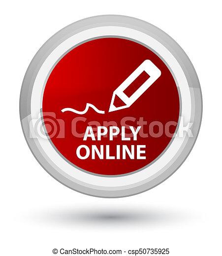 Apply online (edit pen icon) prime red round button - csp50735925