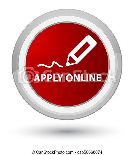 Apply online (edit pen icon) prime red round button - csp50668074
