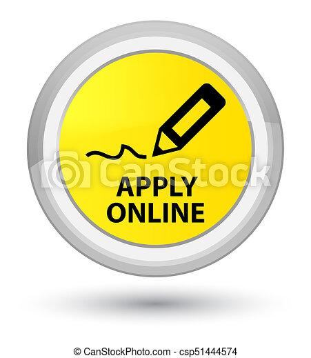 Apply online (edit pen icon) prime yellow round button - csp51444574