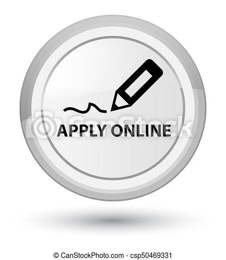 Apply online (edit pen icon) prime white round button - csp50469331