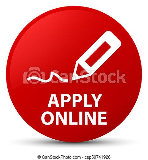 Apply online (edit pen icon) red round button - csp50741926
