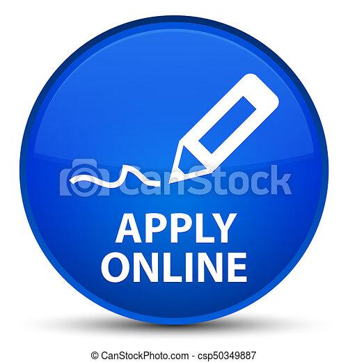 Apply online (edit pen icon) special blue round button - csp50349887