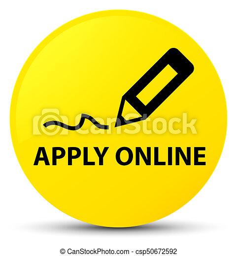 Apply online (edit pen icon) yellow round button - csp50672592
