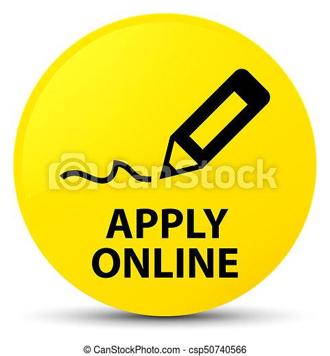 Apply online (edit pen icon) yellow round button - csp50740566