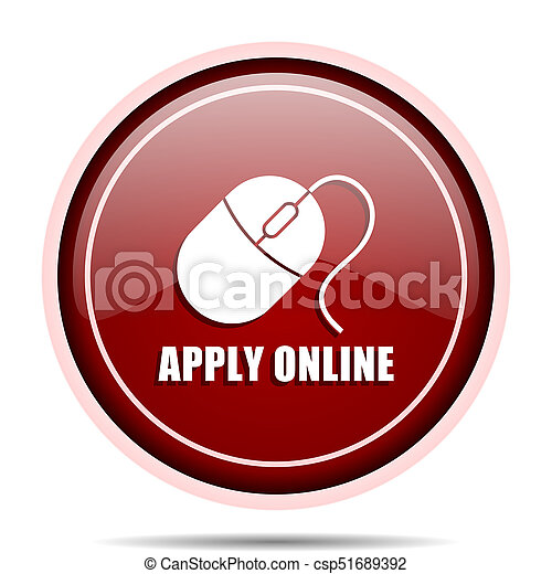 Apply online red glossy round web icon. Circle isolated internet button for webdesign and smartphone applications. - csp51689392