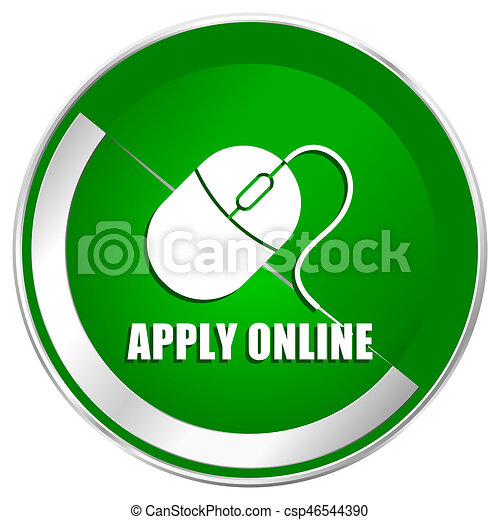 Apply online silver metallic border green web icon for mobile apps and internet. - csp46544390