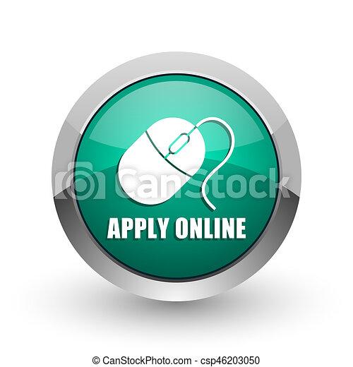 Apply online silver metallic chrome web design green round internet icon with shadow on white background. - csp46203050
