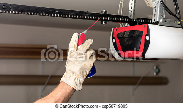 Applying Oil To A Chain Of A Garage Door Opener Preventive