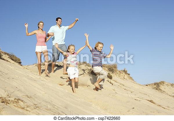 apprécier, famille, dune, bas, courant, vacances, plage - csp7422660