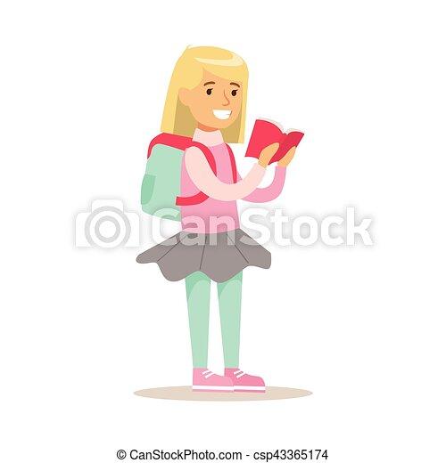 Apprecier Sac A Dos Lire Illustration Livre Amours Lecture Fille Ouvert Gosse