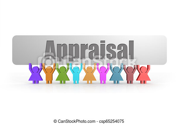 Appraisal word on a banner hold by group of puppets - csp65254075