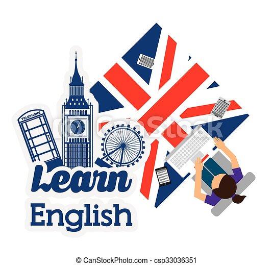 apprendre, anglaise, conception - csp33036351