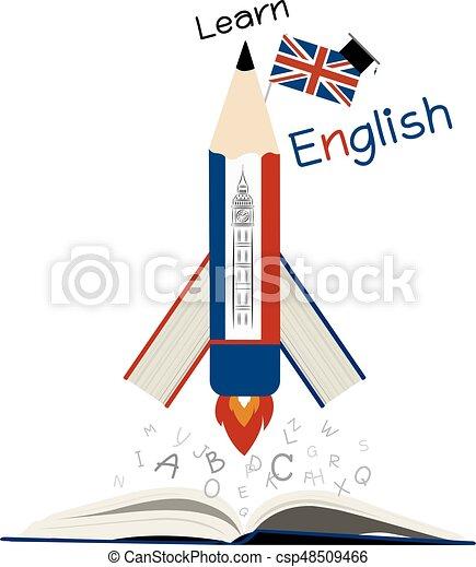 apprendre, papier, conception, anglaise, blanc, education - csp48509466