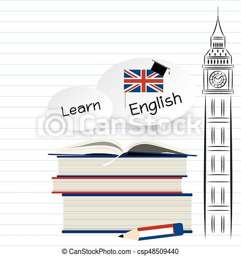 apprendre, papier, conception, anglaise, blanc, education - csp48509440