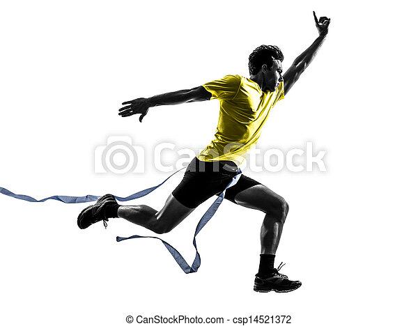 Junger Mann Sprinter-Läufer, Gewinnerin, Ziellinie Silhouette - csp14521372