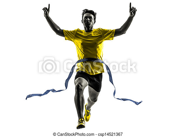 appretur, silhouette, läufer, sprinter, gewinner, junger, rennender , linie, mann - csp14521367