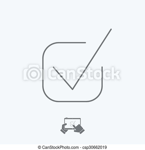 approval icon thin series vector clip art search illustration