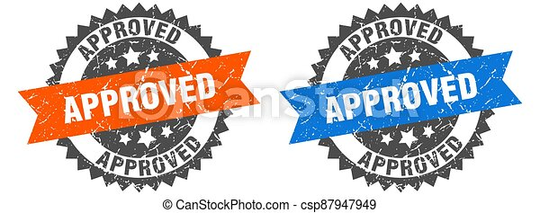 approved band sign. approved grunge stamp set - csp87947949