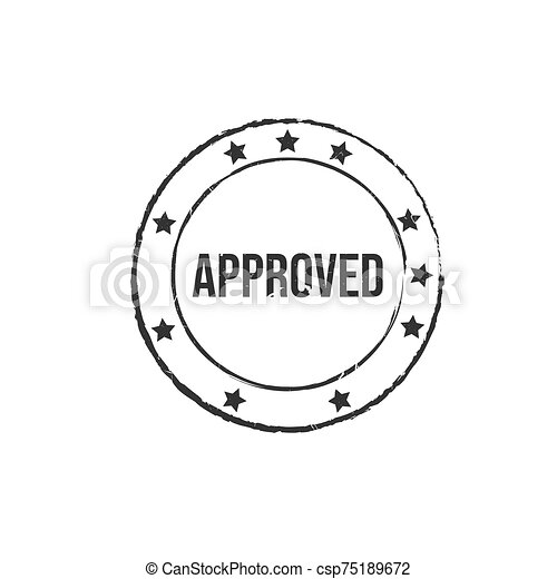 Approved black grunge round vintage rubber stamp vector image - csp75189672