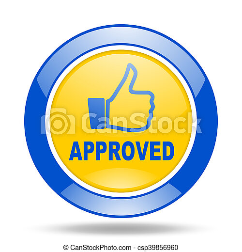 approved blue and yellow web glossy round icon - csp39856960