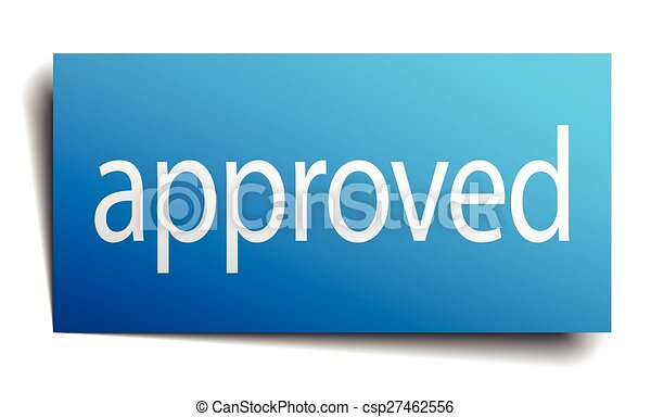 approved blue square isolated paper sign on white - csp27462556