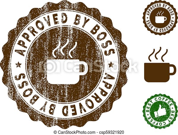 Approved By Boss Stamp Seal with Scratched Texture - csp59321920