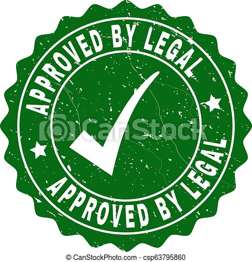 Approved by Legal Grunge Stamp with Tick - csp63795860