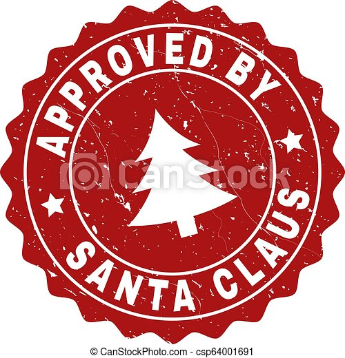 APPROVED BY SANTA CLAUS Scratched Stamp Seal with Fir-Tree - csp64001691