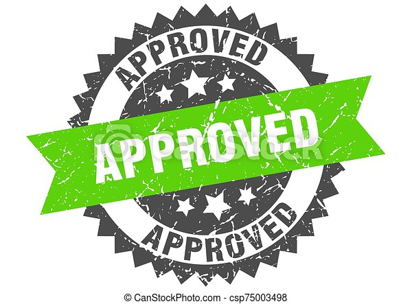 approved grunge stamp with green band. approved - csp75003498