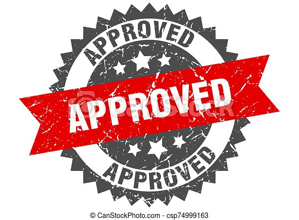approved grunge stamp with red band. approved - csp74999163
