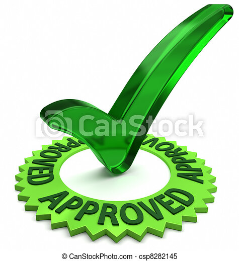 Approved Label Green Label With 3d Text And Check Mark Stock