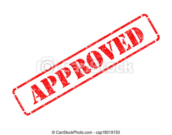 Approved on Red Rubber Stamp. - csp18019150