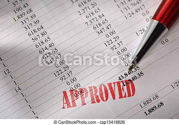 Approved operating budget and a pen  - csp13418826