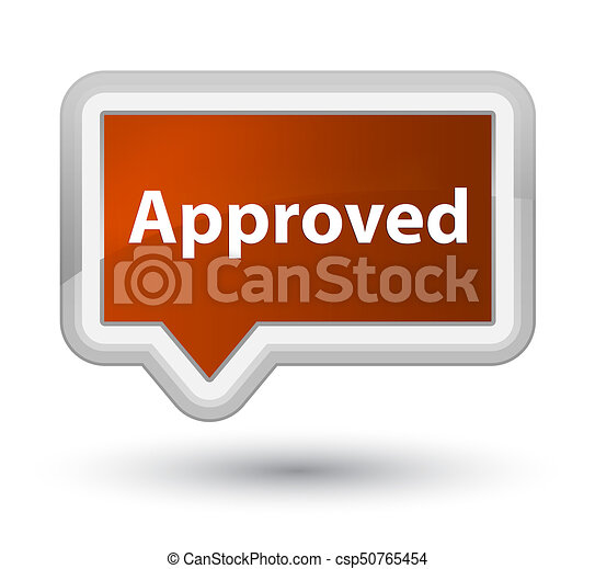 Approved prime brown banner button - csp50765454