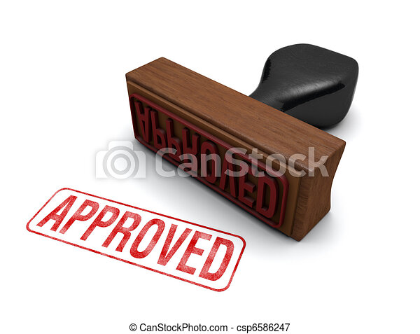 """""""Approved"""" Rubber Stamp - csp6586247"""