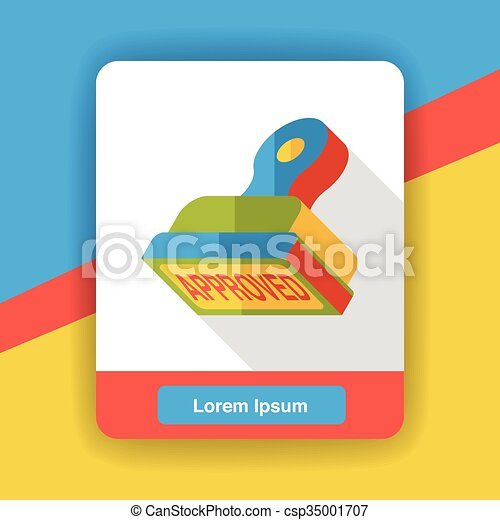 approved stamp flat icon - csp35001707