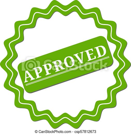 Approved. stamp. green round grunge approved sign - csp57812673