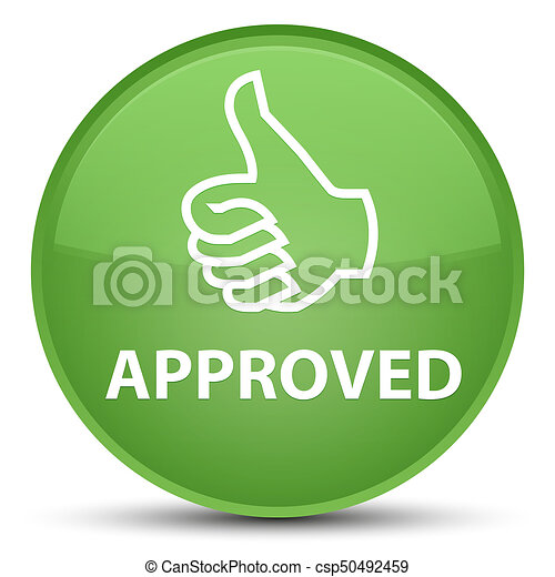Approved (thumbs up icon) special soft green round button - csp50492459