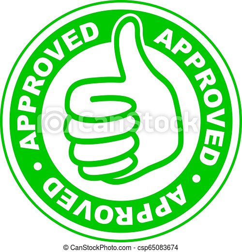 Approved thumbs up stamp - csp65083674