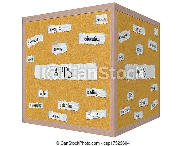 Apps 3D Cube Corkboard Word Concept - csp17523604