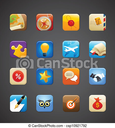 apps, collection, icônes - csp10921792
