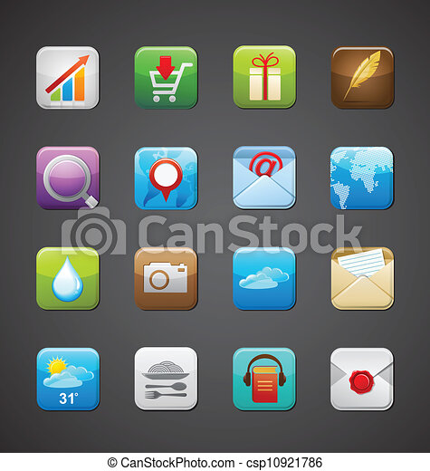 apps, collection, icônes - csp10921786